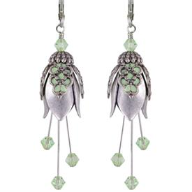 -M'LADY PAINTED EARRINGS IN SILVER & PERIDOT GREEN.