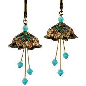 -LORELEI PAINTED EARRINGS IN GOLD, TURQUOISE & PEACH.