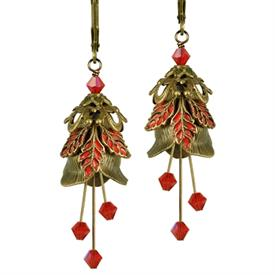 -LOVE LETTER PAINTED EARRINGS IN GOLD & RED.
