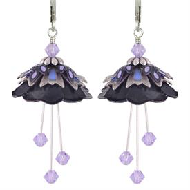 -WILD FLOWER PAINTED EARRINGS IN BLACK, SILVER, PERIWINKLE & LAVENDER.