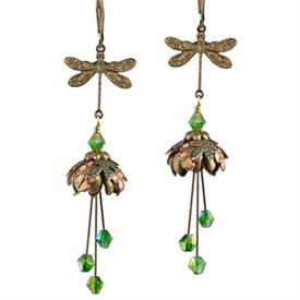 -DRAGONFLY'S RESPITE PAINTED EARRINGS IN GOLD, PEACH & GREEN.