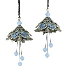 -WATER NYMPH PAINTED EARRINGS IN SILVER, PERIWINKLE, & ICE BLUE