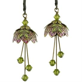 -PIXIE FLOWER PAINTED EARRINGS IN GOLD, MAGENTA & LIME