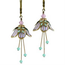 -SWEET DREAMS PAINTED EARRINGS IN GOLD, LAVENDER & MINT GREEN.