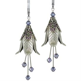 -WARLOCK'S MISTRESS PAINTED EARRINGS IN SILVER & PLUM.
