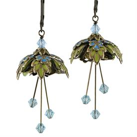 -FOREST FAIRY PAINTED EARRINGS IN GOLD, TURQUOISE & LIME GREEN.