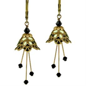 -FIRE SPRITE PAINTED EARRINGS IN GOLD, BLACK & MINT GREEN.