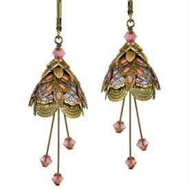 -ITALIAN COURTESAN PAINTED EARRINGS IN GOLD, LAVENDER & PINK.