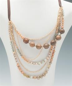 _PEACH, MINT, & WOOD BEAD MULTI STRAND NECKLACE