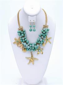 -TURQUOISE & GOLD SEA LIFE BEADED CHARMS NECKLACE & EARRING SET.