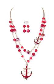 -RED DOUBLE LAYERED BEAD & ANCHORS NECKLACE.