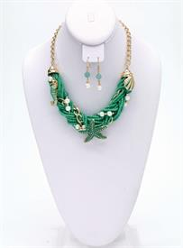 -TEAL GREEN TWISTED BEAD & SEA LIFE CHARMS NECKLACE & EARRING SET.