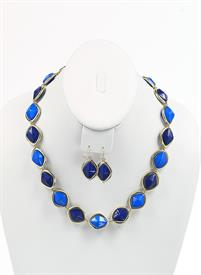 -TWO TONED BLUE DIAMOND IN GOLD EARRING AND NECKLACE SET