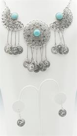_SILVER COINS AND TURQUOISE NECKLACE & EARRING SET