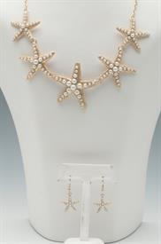 -GOLD STARFISH WITH PEARLS NECKLACE& EARRING SET
