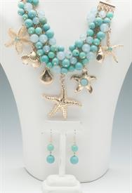 _STARFISH & TURQUOISE BEAD NECKLACE & EARRING SET