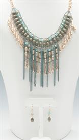 -BLUE, GOLD, & PATINA CHAIN NECKLACE & EARRING SET