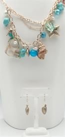 -GOLD & TURQUOISE SEA LIFE CHARMS NECKLACE & EARRING SET