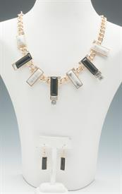 -BLACK, WHITE, & GOLD NECKLACE & EARRING SET