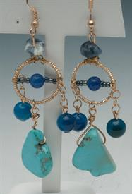 -GOLD, BLUE & TURQUOISE WIRE WRAPPED DANGLE EARRINGS. MAKE A GREAT PAIR WITH NECKLACE #17483520.
