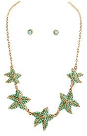 -GREEN & GOLD STARFISH NECKLACE & EARRING SET
