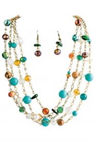 -MULTICOLORED BEAD & GOLD NECKLACE & EARRING SET