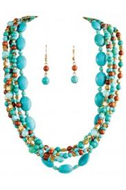 -GOLD & TURQUOISE BEAD MULTI STRAND NECKLACE & EARRING SET