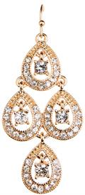 -FOUR TEARDROP CRYSTAL CHANDELIER EARRINGS