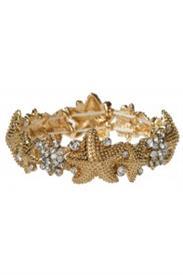 -GOLD & CLEAR CRYSTAL STARFISH BRACELET