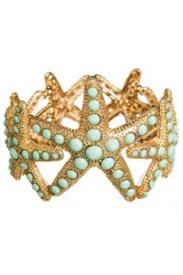 -LARGE GOLD & GREEN STARFISH BRACELET