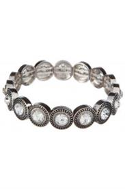 -CLEAR CRYSTAL & SILVER CIRCLE BRACELET