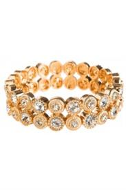 -DOUBLE CLEAR CRYSTAL & GOLD CIRCLE BRACELET