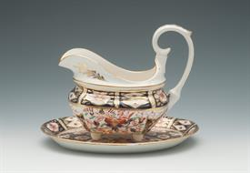 """,IMARI BY ROYAL CROWN DERBY GRAVY BOAT FOOTED (5.25""""H X 6.25""""L) AND UNDERPLATE (7.5""""L X 6""""W) CIRCA 1806-1825"""