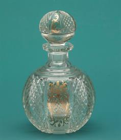 "MOSER/BACCARAT CUT GLASS PERFUME BOTTLE W GOLD GILT 6"" TALL"