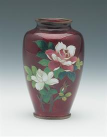 "CLOISONNE VASE PIGEON BLOOD RED WITH SILVER TOP AND RIM & PINK & WHITE ROSES ON THE FRONT. BAMBOO PATTERN ON THE BACK 5""T"