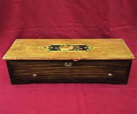 "CYLINDER SWISS INLAY MUSIC BOX 10 AIR 24.75""L X 6.75""T X 9""D (BOX) CLYINDER 15.24""L ALL TEETH PRESENT WILL NEED SOME TLC CALL FOR SHIP $$"