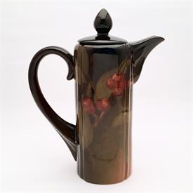 """,ROOKWOOD 1901 CHOCOLATE POT SIGNED CLARA CHRISTINA LINDEMAN 528B HIGH GLAZE WITH CHERRY DECORATIONS MINT CONDITION 10""""T RP MARK W 15 FLAMES"""