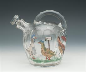 """,CLEAR HAND BLOWN RUM JUG WITH HAND PAINTED GEESE ATTRIBUTED TO ST LOUIS ONE SMALL CHIP ON SPOUT AND FLEA BITE ON BACK6"""""""