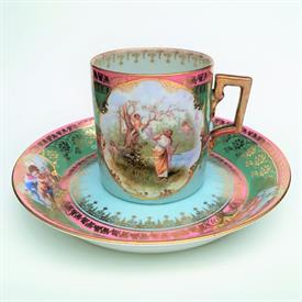 ",ROYAL VIENNA CUP & SAUCER (SAUCER 5 3/4""D, CUP 2.5""T X 2.25""D) SAUCER HAS A CHIP BEEHIVE MARK ON BOTH PIECES"