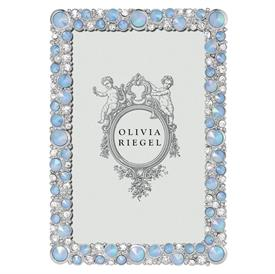 """-4X6"""" MCKENZIE FRAME IN PEWTER WITH A SILVER FINISH HAND-SET WITH AUSTRIAN CRYSTALS AND OPALINE GLASS"""