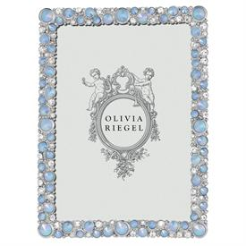 "-,5X7"" MCKENZIE FRAME IN PEWTER WITH A SILVER FINISH, HAND-SET WITH AUSTRIAN CRYSTALS AND OPALINE GLASS. 7.75"" TALL, 5.75"" WIDE"