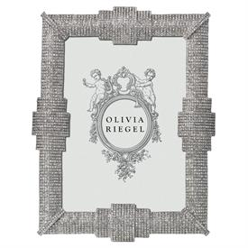 "-,5X7"" AVA FRAME IN SILVER FINISHED CAST PEWTER WITH HUNDREDS OF PAVE AUSTRIAN CRYSTALS"