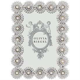 """-,4X6"""" ASTOR FRAME IN SILVER WITH AUSTRIAN CRYSTALS & PEARLS"""