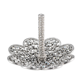 """-,SILVER PRINCESS RING HOLDER. SILVER FINISHED CAST PEWTER HAND-SET WITH EUROPEAN CRYSTALS. 4.25"""" WIDE, 3"""" TALL"""