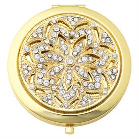 "-,WINDSOR GOLD COMPACT. GOLD FINISHED STAINLESS STEEL CASE HAND SET WITH CRYSTALS. 2X MAG. MIRROR & 1X MAG. MIRROR INSIDE. 3"" WIDE"