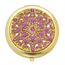 -,PINK TOURMALINE (OCTOBER) SINCLAIR COMPACT. GOLD FINISHED STAINLESS STEEL WITH EUROPEAN CRYSTALS. DOUBLE MIRRORED INTERIOR. 3""