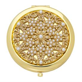 "_,PEARL/JUNE COMPACT. GOLD FINISHED STAINLESS STEEL SET WITH FAUX PEARLS. DOUBLE MIRROR INTERIOR. 3"" WIDE"