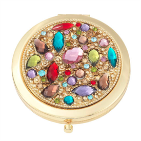 """-,DOMINIQUE COMPACT MIRROR. GOLD FINISHED STAINLESS STEEL MIRRORED COMPACT WITH EUROPEAN CRYSTALS. 3.25"""" WIDE"""