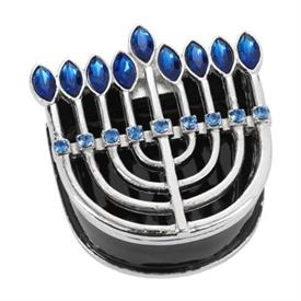 -,MENORAH BOX IN SILVER & BLUE