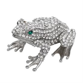 -,CRYSTAL FROG BOX WITH GREEN EYES